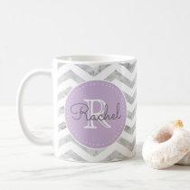 Monogram Silver Chevron Pattern Lavender Purple Coffee Mug