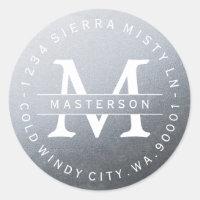 Monogram Silver Circular Return Address Label