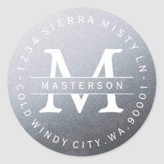 Monogram Silver Circular Return Address Label