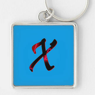 Monogram Silver Colored Keychain in Blue