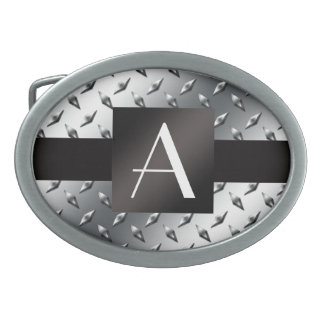 Monogram silver diamond steel plate pattern belt buckle