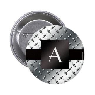 Monogram silver diamond steel plate pattern 2 inch round button