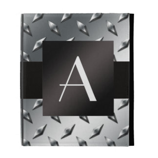 Monogram silver diamond steel plate pattern iPad folio covers