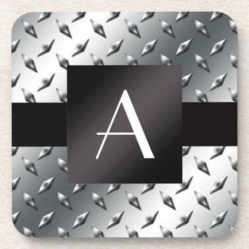 Monogram silver diamond steel plate pattern drink coaster