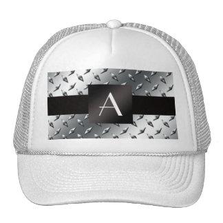 Monogram silver diamond steel plate pattern mesh hat