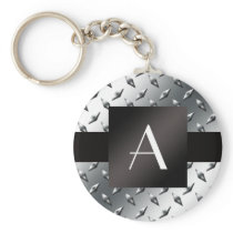 Monogram silver diamond steel plate pattern keychain