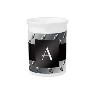 Monogram silver diamond steel plate pattern drink pitchers