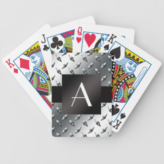 Monogram silver diamond steel plate pattern bicycle playing cards