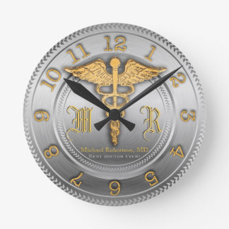 Monogram Silver Doctor Medical Clinic Clock