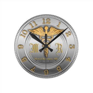 rxmugs Monogram Silver Doctor Medical Clinic Clock