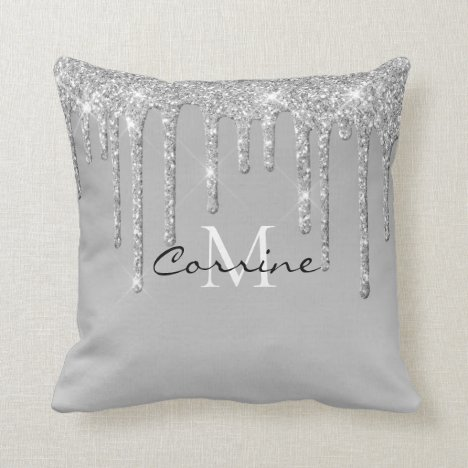 Monogram Silver Dripping Glitter Metallic Platinum Throw Pillow