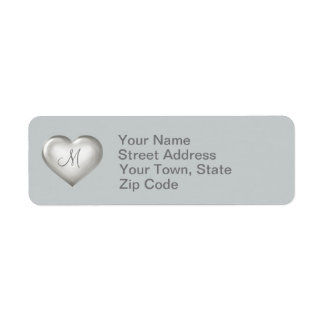 Monogram silver glass heart label