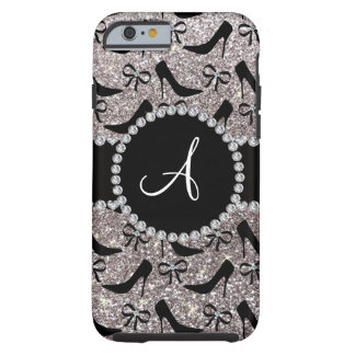 Monogram silver glitter black high heels bow tough iPhone 6 case