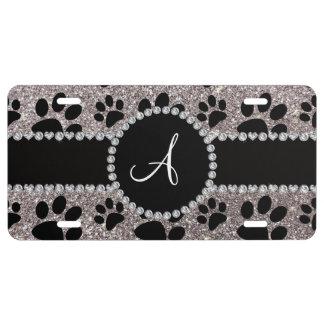 Monogram silver glitter dog paws license plate