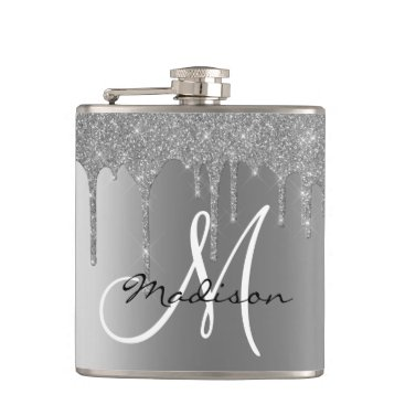 Monogram Silver Glitter Drips Girly Flask