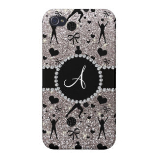 Monogram silver glitter volleyball players cover for iPhone 4