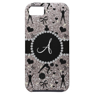 Monogram silver glitter volleyball players iPhone SE/5/5s case