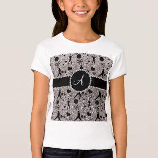 Monogram silver glitter volleyball players T-Shirt