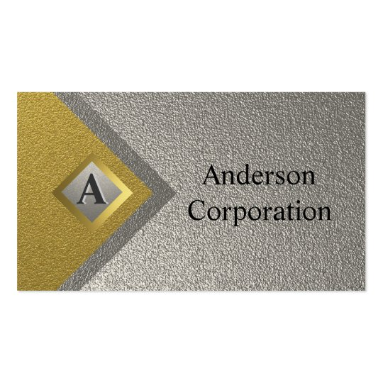 Monogram Silver & Gold Professional Business Cards