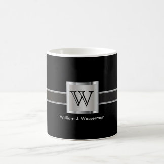 Monogram Silver, Gray and Black Coffee Mug