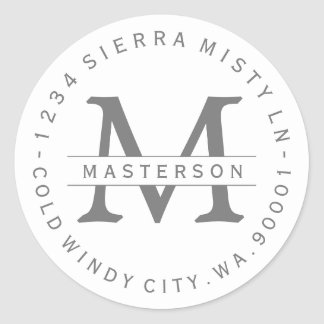 Monogram Silver Gray Circular Return Address Label
