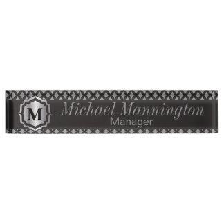 Monogram Silver Gray Pattern Name Plate Desk Nameplates