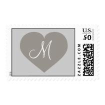 Monogram silver heart postage