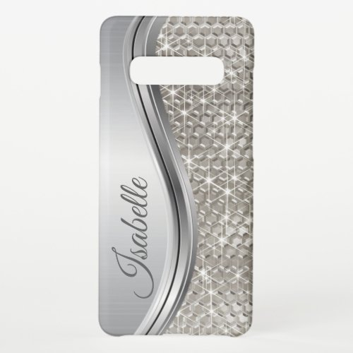 Monogram Silver Metal Glitter look Bling Samsung Galaxy S10 Case