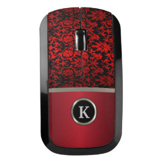 Monogram Silver on Red & Black Damask Wireless Mouse