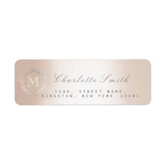 Monogram Silver Pearl Return Address Labels
