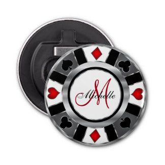 Monogram Silver Poker Chip Design Bottle Opener