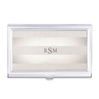 Monogram Silver Striped Modern Stylish Business Card Holder