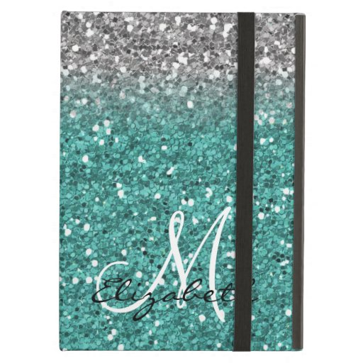 Monogram Silver Teal Trendy Ombre Glitter Case For iPad Air