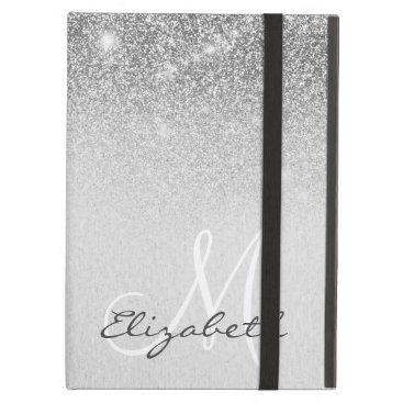 Monogram Silver Trendy Ombre Glitter Pretty Case For iPad Air