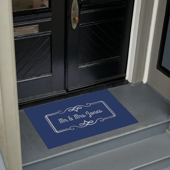 Monogram Silver Wedding Anniversary Navy Blue Doormat