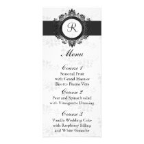 monogram silver wedding menu
