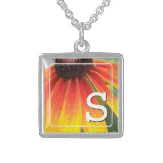 Monogram Simplicity Orange Wildflower Custom Sterling Silver Necklace