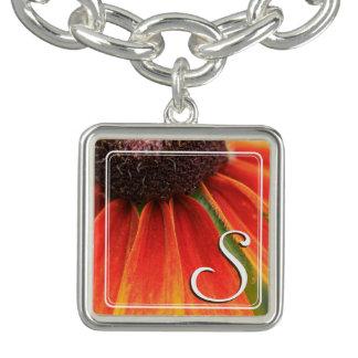 Monogram Simplicity Orange Wildflower Personalized Charm Bracelet