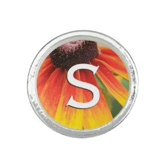 Monogram Simplicity Orange Wildflower Photo Custom Rings