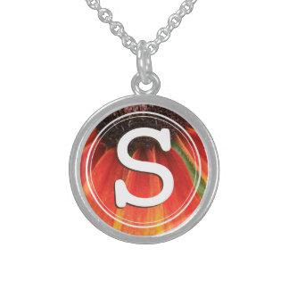 Monogram Simplicity Orange Wildflower Photo Custom Sterling Silver Necklace
