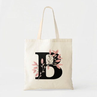 Monogram Single Letter with Pink Floral Sprays Tote Bag