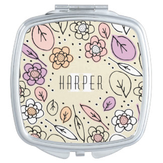 Monogram Sketchy Floral Leaves 2 Square Mirror For Makeup