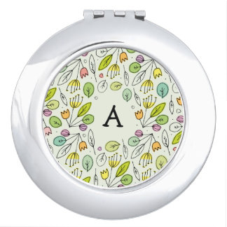 Monogram Sketchy Floral Leaves 3 Round Mirror For Makeup