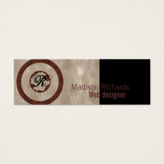 Monogram skinny metal mini business card