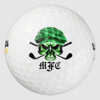 Monogram Skull and Crossed Golf Clubs Golf Balls