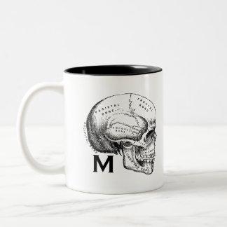 Monogram. Skull Vintage Illustration. Two-Tone Coffee Mug