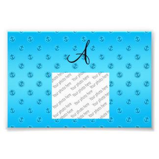 Monogram sky blue anchors polka dots photo art