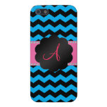 Monogram sky blue and black chevrons cases for iPhone 5