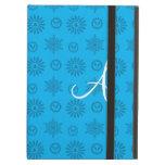 Monogram sky blue christmas stars snowflakes iPad cover