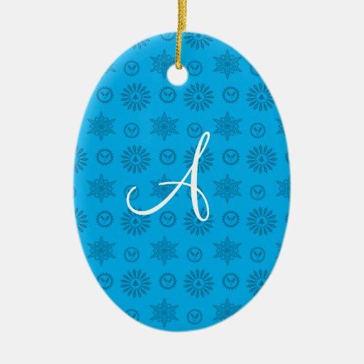 Monogram sky blue christmas stars snowflakes christmas tree ornaments